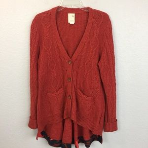Anthro Far away from close orange cardi sweater-L